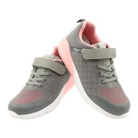 American Club Dziewczęce Buty Sportowe Na Rzep RL11 Szare-Różowe 3