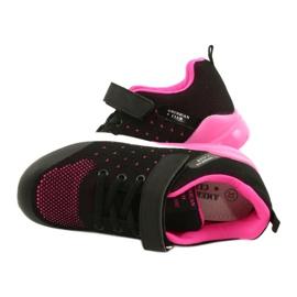 American Club Dziewczęce Buty Sportowe Na Rzep RL11 Czarne/Różowe 4
