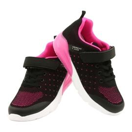 American Club Dziewczęce Buty Sportowe Na Rzep RL11 Czarne/Różowe 3