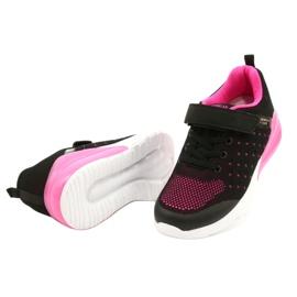 American Club Dziewczęce Buty Sportowe Na Rzep RL11 Czarne/Różowe 2