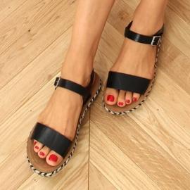 Sandałki espadryle czarne TH005 Black 1