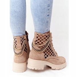 Ażurowe Botki Workery Lewski Shoes 3030-0 Piaskowe brązowe 5