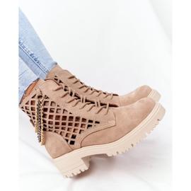Ażurowe Botki Workery Lewski Shoes 3030-0 Piaskowe brązowe 1