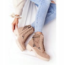 Ażurowe Botki Workery Lewski Shoes 3030-0 Piaskowe brązowe 7