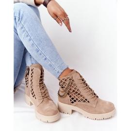 Ażurowe Botki Workery Lewski Shoes 3030-0 Piaskowe brązowe 6