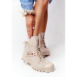 Zamszowe Botki Workery Lewski Shoes 2942-0 Jasny Beż beżowy 2