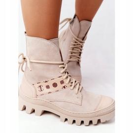 Zamszowe Botki Workery Lewski Shoes 2942-0 Jasny Beż beżowy 3