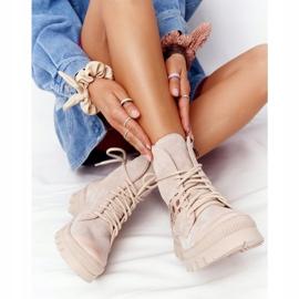 Zamszowe Botki Workery Lewski Shoes 2942-0 Jasny Beż beżowy 5