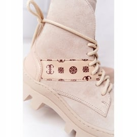 Zamszowe Botki Workery Lewski Shoes 2942-0 Jasny Beż beżowy 1