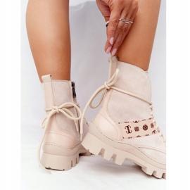 Zamszowe Botki Workery Lewski Shoes 2942-0 Jasny Beż beżowy 8