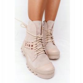 Zamszowe Botki Workery Lewski Shoes 2942-0 Jasny Beż beżowy 9