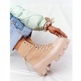 Zamszowe Botki Workery Lewski Shoes 3007-0 Piaskowe beżowy wielokolorowe 3