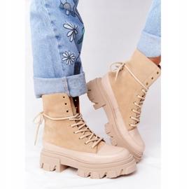Zamszowe Botki Workery Lewski Shoes 3007-0 Piaskowe beżowy wielokolorowe 5