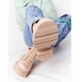Zamszowe Botki Workery Lewski Shoes 3007-0 Piaskowe beżowy wielokolorowe 1