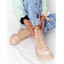 Zamszowe Botki Workery Lewski Shoes 3007-0 Piaskowe beżowy wielokolorowe 2