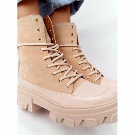 Zamszowe Botki Workery Lewski Shoes 3007-0 Piaskowe beżowy wielokolorowe 4