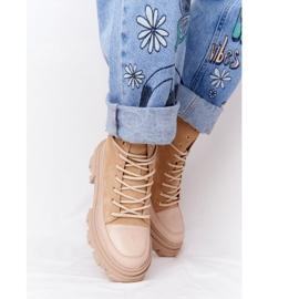 Zamszowe Botki Workery Lewski Shoes 3007-0 Piaskowe beżowy wielokolorowe 6