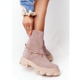 Zamszowe Botki Workery Lewski Shoes 3006-0 Beżowe beżowy 2