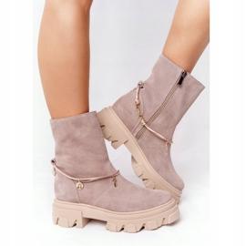Zamszowe Botki Workery Lewski Shoes 3006-0 Beżowe beżowy 3