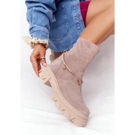 Zamszowe Botki Workery Lewski Shoes 3006-0 Beżowe beżowy 4
