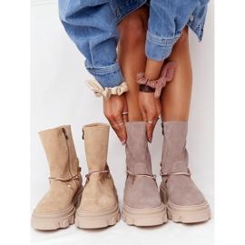 Zamszowe Botki Workery Lewski Shoes 3006-0 Beżowe beżowy 1