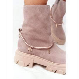 Zamszowe Botki Workery Lewski Shoes 3006-0 Beżowe beżowy 5