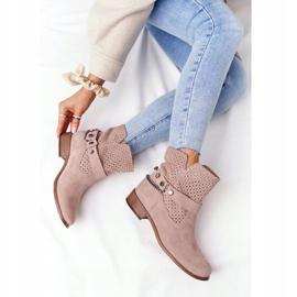 Ażurowe Wiosenne Botki Lewski Shoes 2905-0 Beżowe beżowy 7