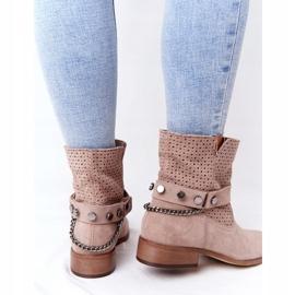 Ażurowe Wiosenne Botki Lewski Shoes 2905-0 Beżowe beżowy 1
