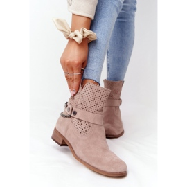 Ażurowe Wiosenne Botki Lewski Shoes 2905-0 Beżowe beżowy 2