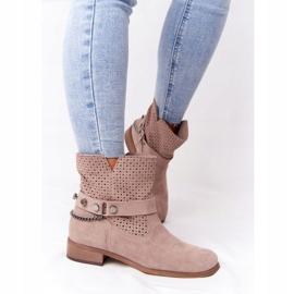 Ażurowe Wiosenne Botki Lewski Shoes 2905-0 Beżowe beżowy 3