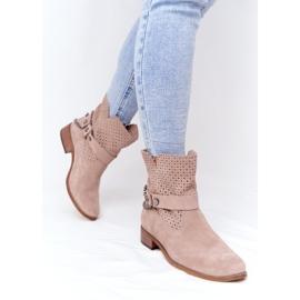 Ażurowe Wiosenne Botki Lewski Shoes 2905-0 Beżowe beżowy 4