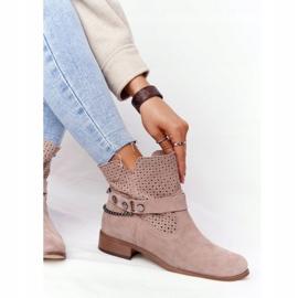 Ażurowe Wiosenne Botki Lewski Shoes 2905-0 Beżowe beżowy 5