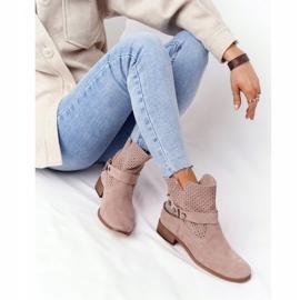 Ażurowe Wiosenne Botki Lewski Shoes 2905-0 Beżowe beżowy 6