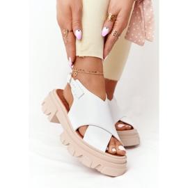 Skórzane Sandały Na Platformie Lewski Shoes 3018-0 Białe 2