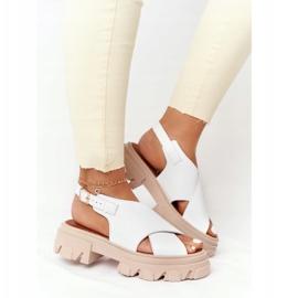 Skórzane Sandały Na Platformie Lewski Shoes 3018-0 Białe 3
