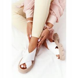 Skórzane Sandały Na Platformie Lewski Shoes 3018-0 Białe 5