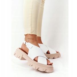 Skórzane Sandały Na Platformie Lewski Shoes 3018-0 Białe 4