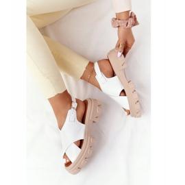 Skórzane Sandały Na Platformie Lewski Shoes 3018-0 Białe 1