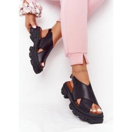Skórzane Sandały Na Platformie Lewski Shoes 3018-0 Czarne 2