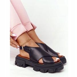Skórzane Sandały Na Platformie Lewski Shoes 3018-0 Czarne 3