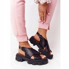 Skórzane Sandały Na Platformie Lewski Shoes 3018-0 Czarne 1