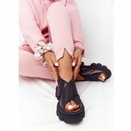 Skórzane Sandały Na Platformie Lewski Shoes 3018-0 Czarne 4