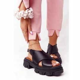 Skórzane Sandały Na Platformie Lewski Shoes 3018-0 Czarne 5
