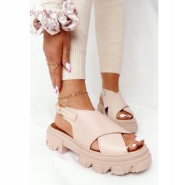 Skórzane Sandały Na Platformie Lewski Shoes 3018-0 Beżowe beżowy 1
