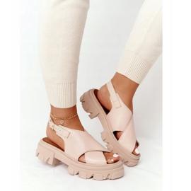 Skórzane Sandały Na Platformie Lewski Shoes 3018-0 Beżowe beżowy 2