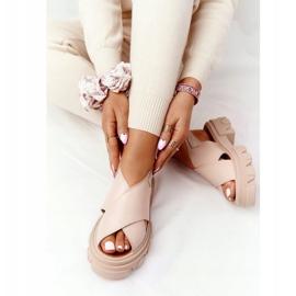 Skórzane Sandały Na Platformie Lewski Shoes 3018-0 Beżowe beżowy 4
