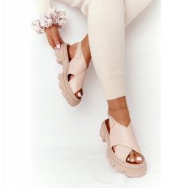 Skórzane Sandały Na Platformie Lewski Shoes 3018-0 Beżowe beżowy 3
