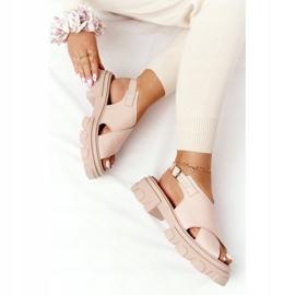 Skórzane Sandały Na Platformie Lewski Shoes 3018-0 Beżowe beżowy 5