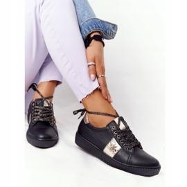 Damskie Skórzane Tenisówki Lewski Shoes 2786-0 Czarno-Złote czarne złoty 4