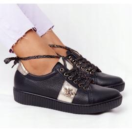 Damskie Skórzane Tenisówki Lewski Shoes 2786-0 Czarno-Złote czarne złoty 5